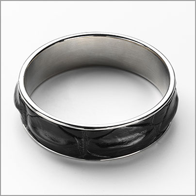 Black Crocodile skin bangle