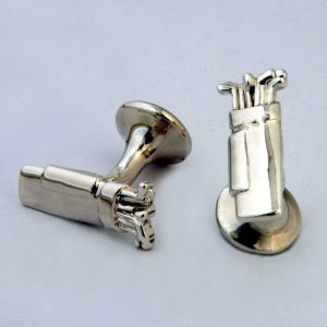 Rhodium Plated Golf Clubs Cufflinks