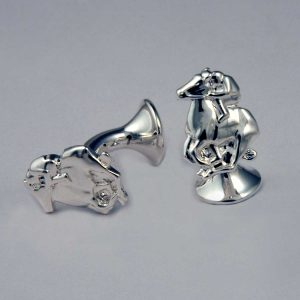 Rhodium Plated Horse Racing Cufflinks