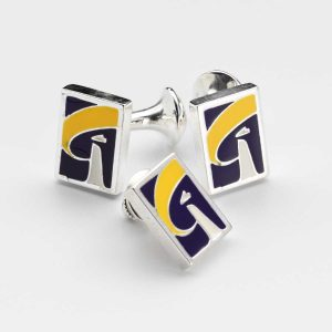 Custom Cufflinks with Yellow Blue Enamel Inlay