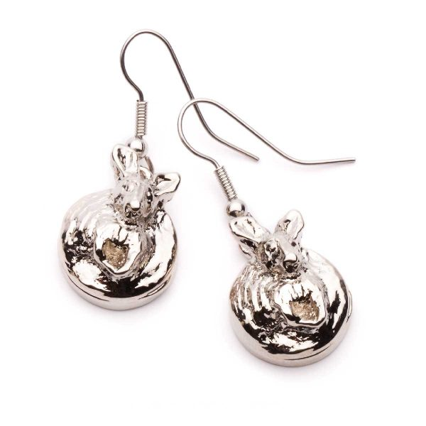 Kangaroo Earrings Round style in Silver