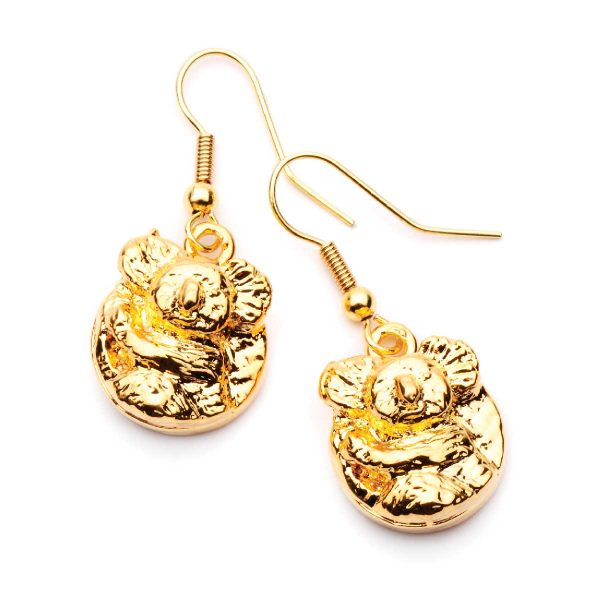 Koala Earrings Round style in Gold