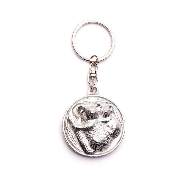 Koala Disk keyring in nickel plate