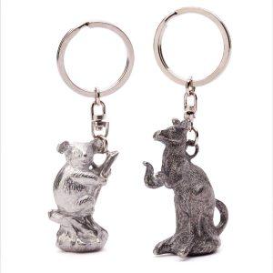 Silver Koala & Nickel Kangaroo Solid Keyrings