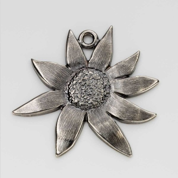 Flannel Flower Charm in Nickel 3