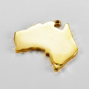 Australia Map Charm in Gold 3