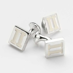 Rhodium Cufflinks with White Enamel Inlay