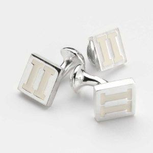 Rhodium Cufflinks with White Enamel Inlay