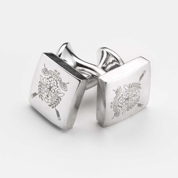 Rhodium cufflinks with digital engraved logo or symbol